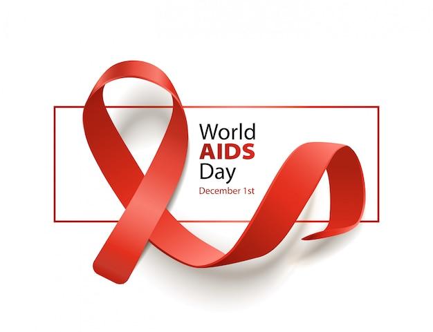 Banner de conscientização do dia mundial da aids com fita vermelha