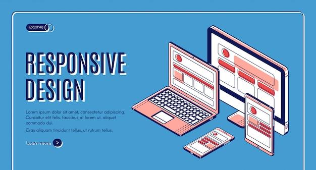 Banner de construção de página de destino de design responsivo