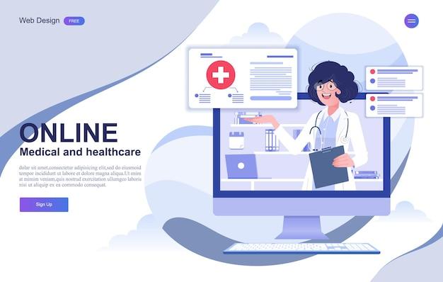 Banner de consulta online médica e de saúde