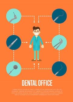 Banner de consultório odontológico com dentista masculino