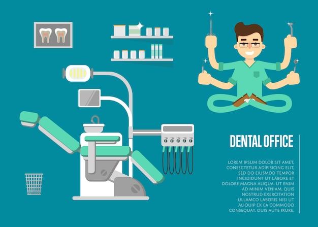 Banner de consultório odontológico com ilustração de dentista masculino