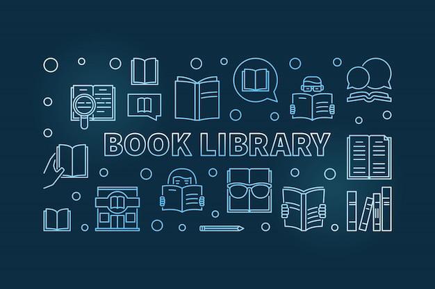 Banner de contorno azul da biblioteca do livro