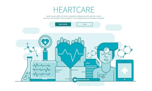 Banner de contorno de cuidados de coração para sites e aplicativos móveis