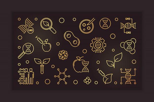 Banner de contorno dourado de ogm