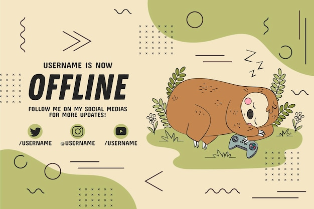 Banner de contração offline preguiça de dormir