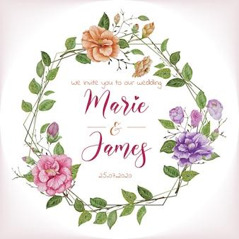 Banner de convite de casamento floral aquarela
