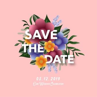 Banner de convite de casamento floral