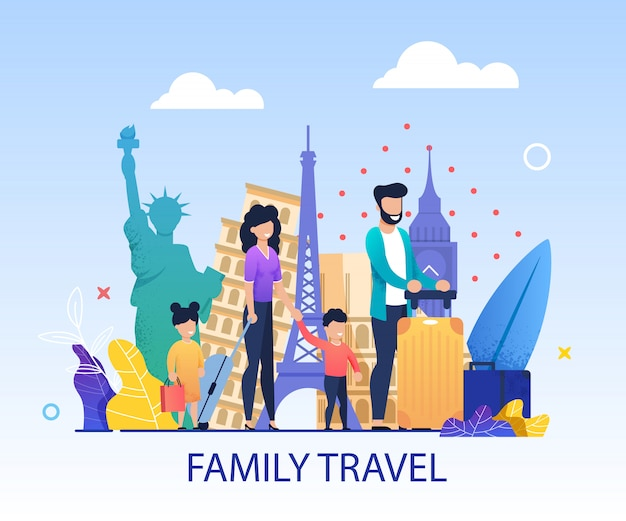 Banner de convite de desenhos animados de viagens em família