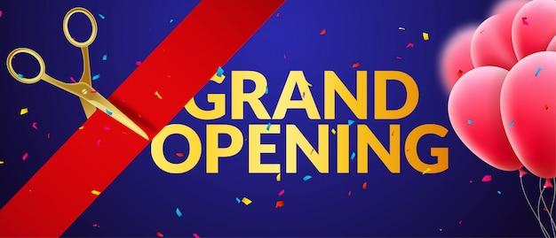 Banner de convite de evento de inauguração com balões e confetes. modelo de design de pôster de inauguração