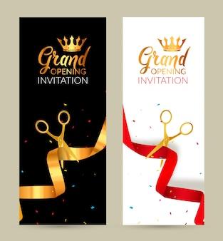 Banner de convite de inauguração. evento de cerimônia de corte de fita dourada e fita vermelha. cartão de comemoração de inauguração