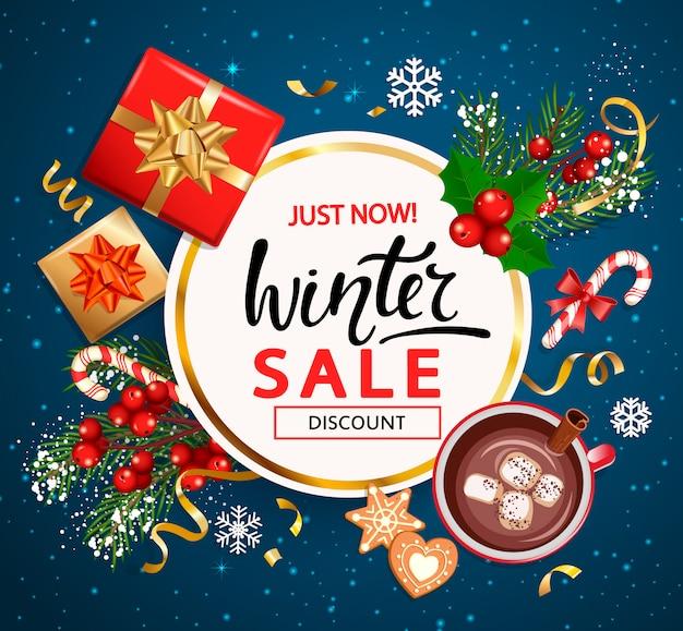 Banner de convite de venda de inverno, cartaz.