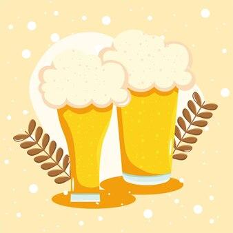 Banner de copos de cerveja com espuma