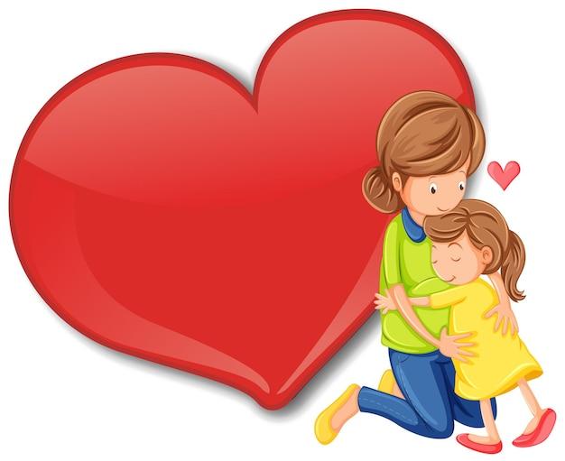 Banner de coração grande vazio com a mãe abraçando a filha
