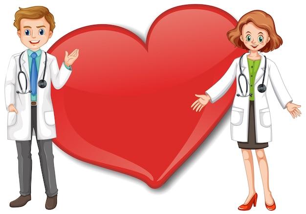 Banner de coração grande vazio com personagem de desenho animado de dois médicos