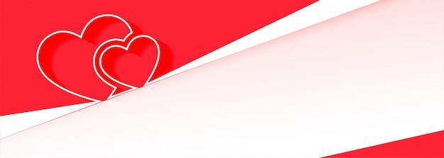 Banner de corações atraentes para dia dos namorados