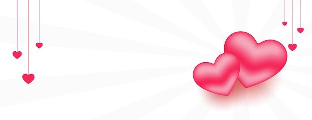 Banner de corações de amor 3d com espaço de texto