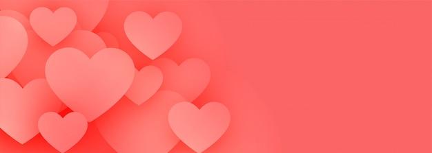 Banner de corações elegantes amor rosa com espaço de texto