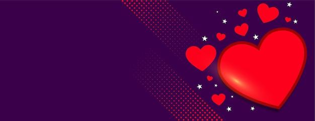 Banner de corações elegantes para o dia dos namorados