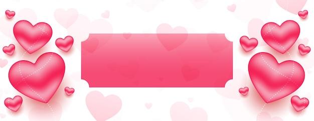 Banner de corações em 3d styligh para dia dos namorados com espaço de texto