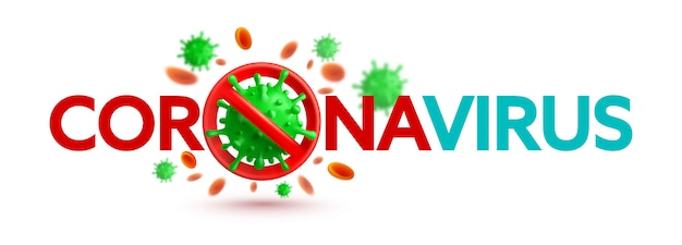 Banner de coronavírus 2019-ncov com sinal de stop e células virais verdes sobre fundo branco