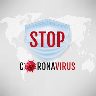 Banner de coronavírus com máscara médica fundo cinza
