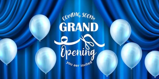 Banner de cortina azul. projeto de evento de inauguração. balões azuis