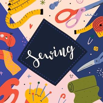 Banner de costura com ilustrações