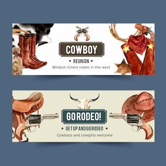 Banner de cowboy com botas, corda, arma, botas, saco