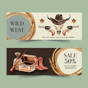 Banner de cowboy com corda, chapéu, crânio de vaca, arma