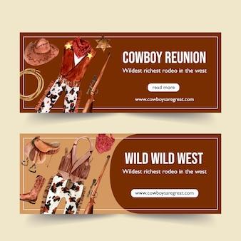 Banner de cowboy com roupa e equipamento de cowboy
