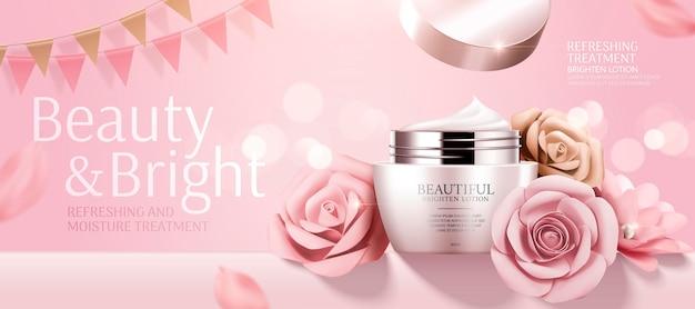 Banner de creme cosmético romântico com rosas de papel