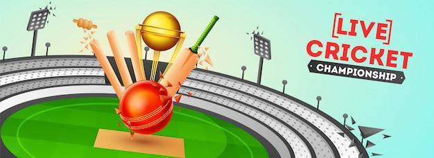 Banner de cricket ao vivo ou design de cartaz
