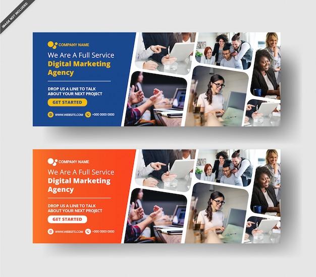Banner de cronograma de facebook de marketing de negócios