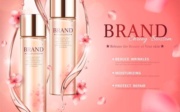 Banner de cuidados com a pele em flor de cerejeira com essência e pétalas em estilo 3d