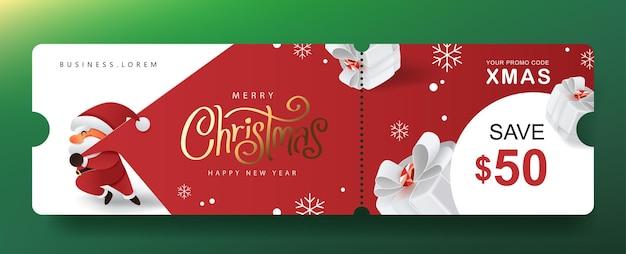 Banner de cupom de promoção de presente de feliz natal com o lindo papai noel e decoração festiva para o natal