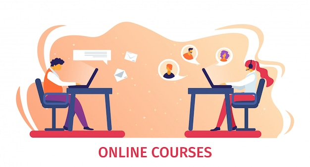 Banner de cursos on-line. estudo remoto na internet.