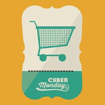 Banner de cyber monday com carrinho de compras