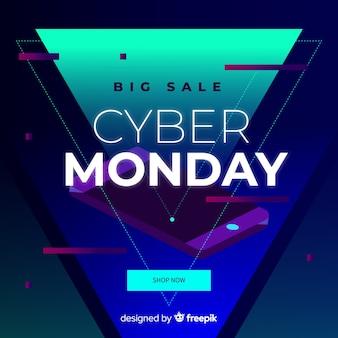 Banner de cyber segunda-feira de design plano