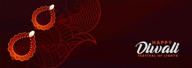 Banner de decoração decorativa feliz diwali diya