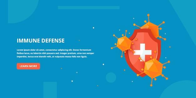 Banner de defesa imunológica em estilo cartoon.