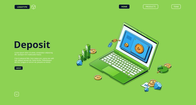 Banner de depósito. conceito de armazenamento de segurança de dinheiro, investimento e depósito bancário.