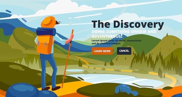Banner de descoberta. aventura de um jovem nas montanhas