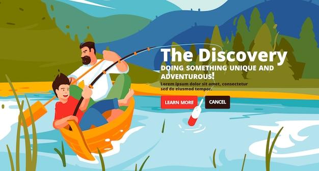 Banner de descoberta. família trekking, rafting e pesca.