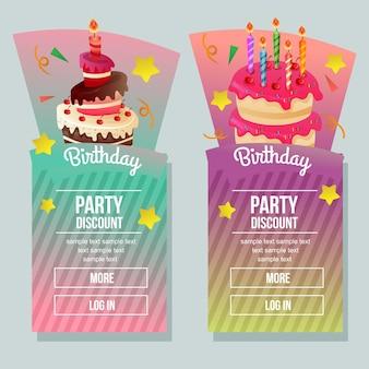 Banner de desconto de festa de aniversário com bolo de torre