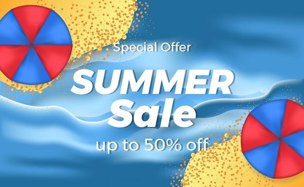 Banner de desconto de oferta de venda de verão com praia ilha