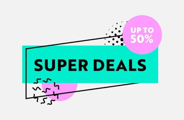 Banner de desconto de preço de super ofertas com sinal de porcentagem