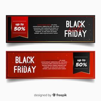 Banner de desconto de sexta-feira de 50% preto