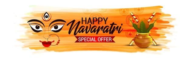 Banner de desconto de venda de oferta especial de feliz navratri