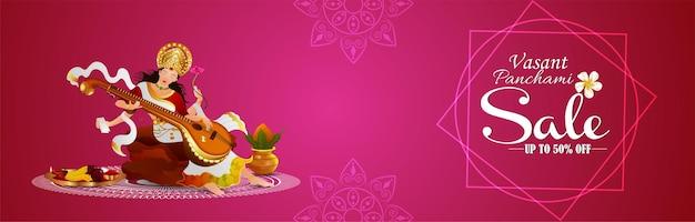 Banner de desconto de venda de vasant panchami