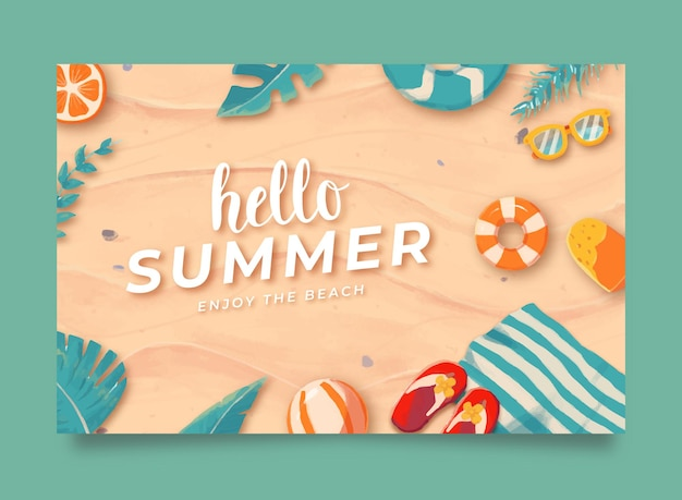 Banner de desconto de venda de verão em aquarela hello em ilustração de fundo de praia de areia linda
